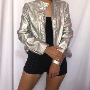 Trendy silver leather jacket